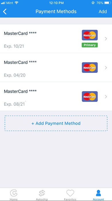 Chewy Mobile App: Account - Edit Payment Methods