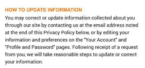 Chewy Privacy Policy: How to Update Information clause