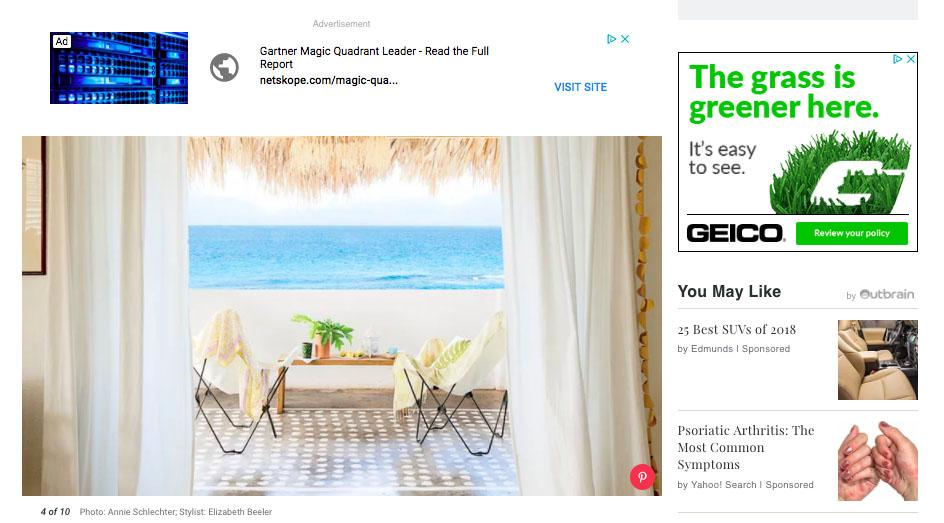 Screenshot of the Coastal Living Magazine blog showing AdSense ads