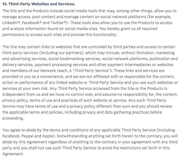 Constant Contact Terms of Use: Third Party Websites and Services clause