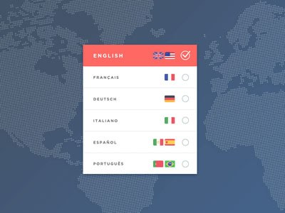 dribbble: Language Selection Modal by Daniel Marchini