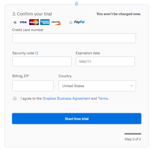 Dropbox account sign-up form with I Agree checkbox for consent