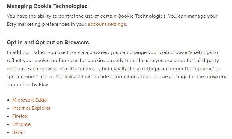 Etsy Cookies Policy: Managing Cookie Technologies/Opt-in and Opt-out on