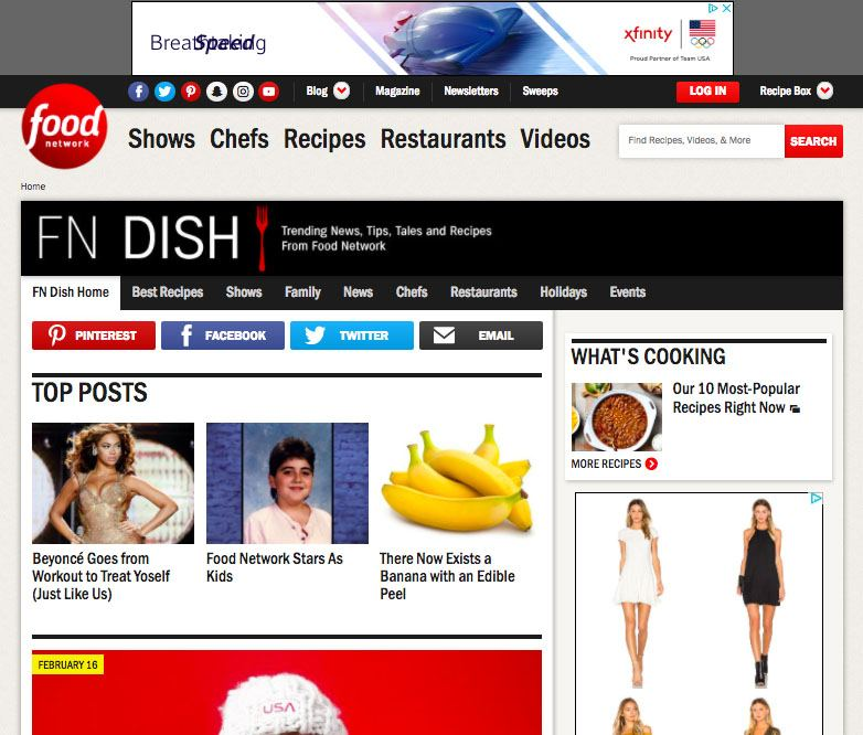 Screenshot of the Food Network homepage showing AdSense ads