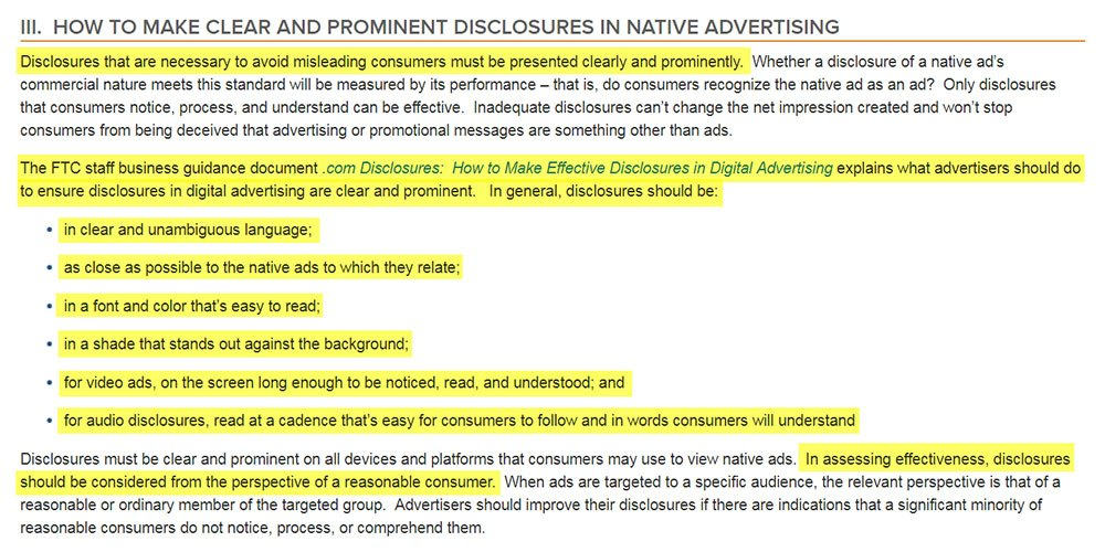 FTC Guide: How to Make Clear and Prominent Disclosures in Native Advertising clause