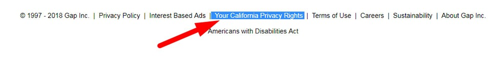 Gap: Highlighted link to the Your California Privacy Rights page in the footer