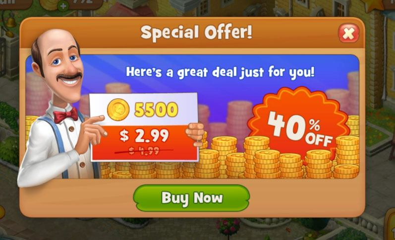Gardenscapes mobile app game: Screenshot of purchase option