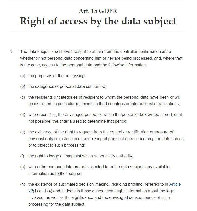 GDPR Info: Article 15: Right of Access by the data subject
