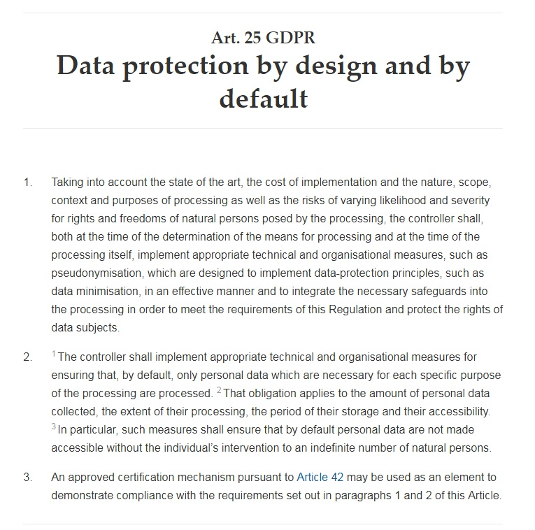 GDPR Info: Article 25: Data protection by design and by default: Privacy by Design