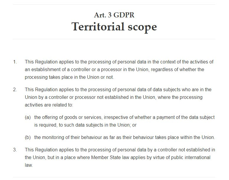 GDPR Info: Article 3: Territorial Scope
