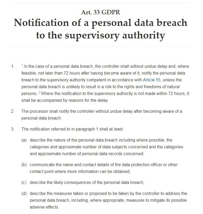 GDPR Info: Article 33: Notification of a personal data breach to the supervisory authority