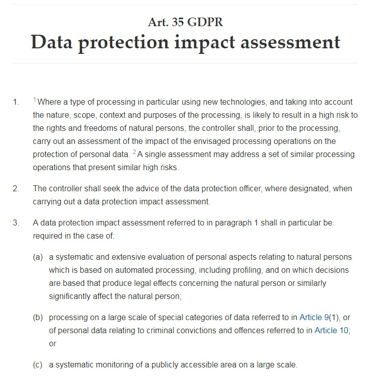GDPR Info: Article 35: Data protection impact assessment