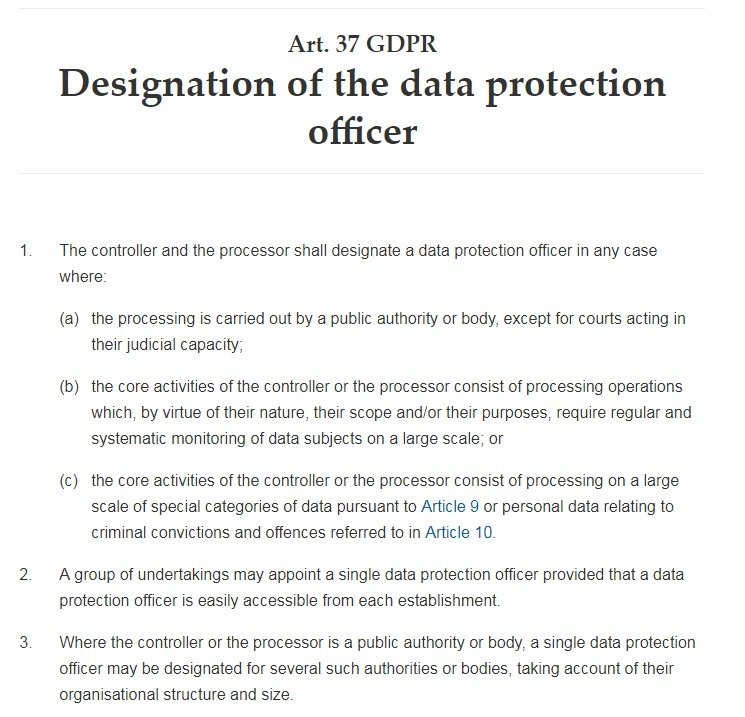 GDPR Info: Article 37: Designation of the data protection officer
