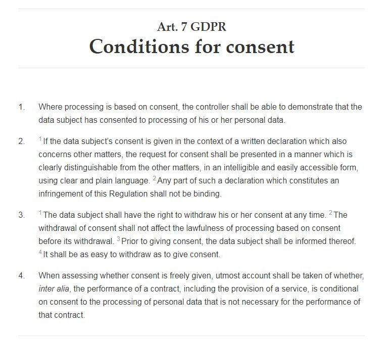 GDPR Info: Article 7: Conditions for Consent