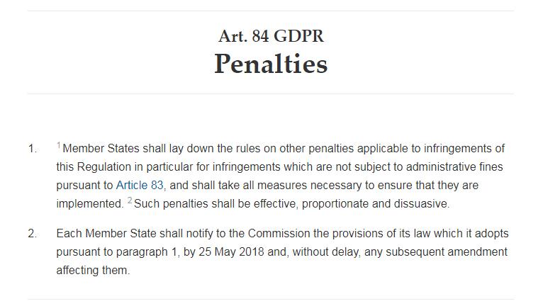 GDPR Info: Article 84: Penalties