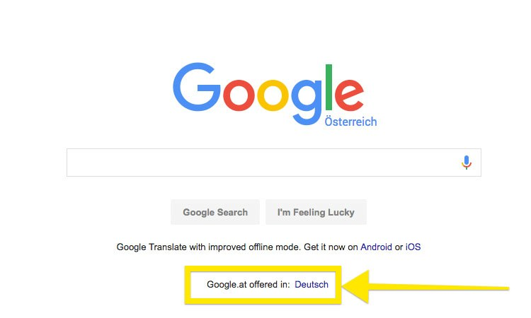Google: Highlighted language options with German language selected