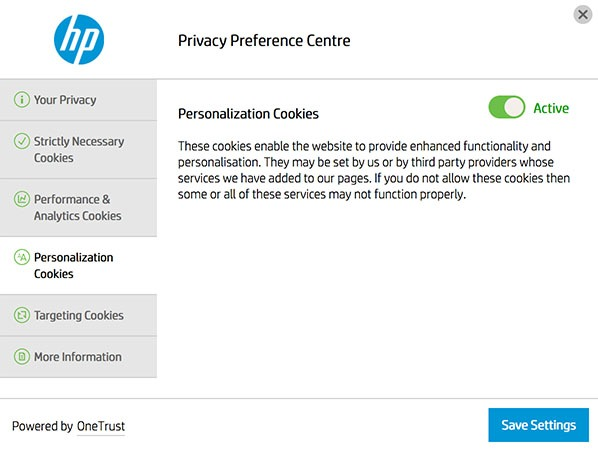 HP Privacy Preference Centre with Personalization Cookies settings