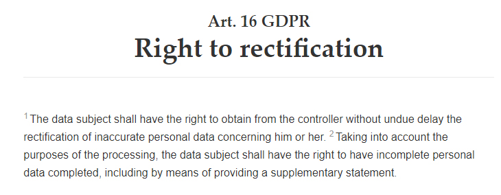 Intersoft Consulting: GDPR Article 16: Right to rectification