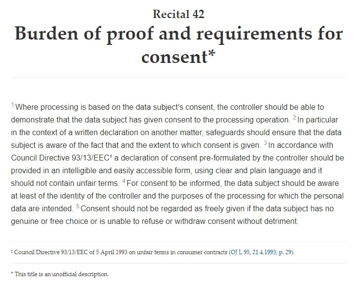 Intersoft Consulting: GDPR Recital 42: Requirements for Consent