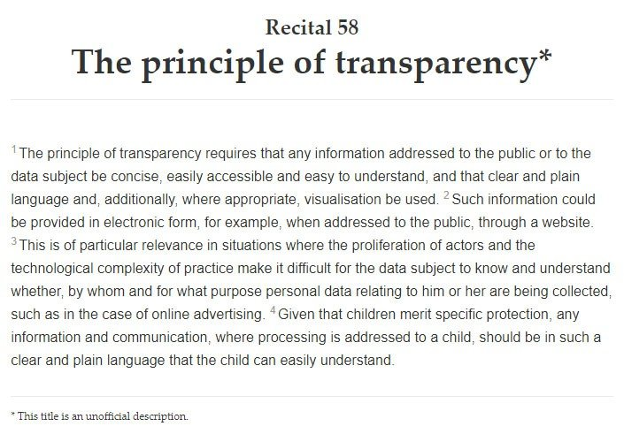 Intersoft Consulting: GDPR Recital 58 - The Principle of Transparency