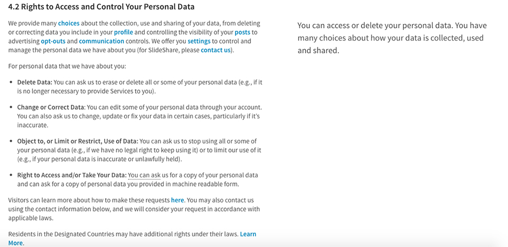 LinkedIn Privacy Policy; Rights to Access and Control Your Personal Data clause