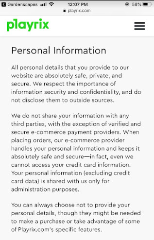Playrix mobile Privacy Policy: Personal Information clause