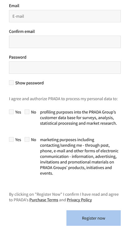 Prada registration form with clickwrap consent checkboxes for marketing and personal data collection