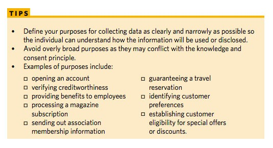 Privacy Commissioner of Canada Privacy Toolkit: Tips