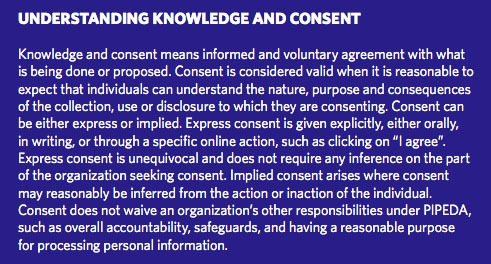 Privacy Commissioner of Canada Privacy Toolkit: Understanding Knowledge and Consent summary