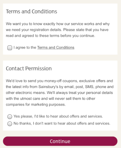 Sainsbury's mobile signup: Agree to Terms and Conditions and Contact Permission consent