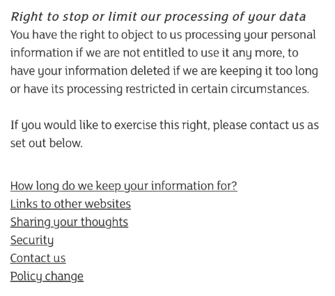 Sainsbury's Privacy Policy: Right to stop or limit our processing of your data clause