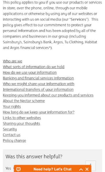 Sainsbury's Privacy Policy: List of links to policy sections