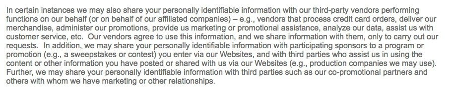 Scripps Networks Privacy Policy: Personally Identifiable Information clause