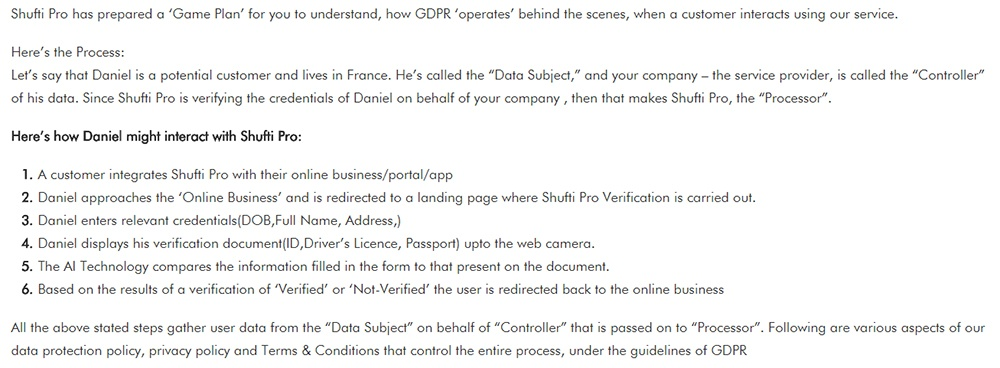 Shufti Pro GDPR Compliance Guide: Game Plan summary section