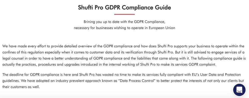 Shufti Pro GDPR Compliance Guide intro