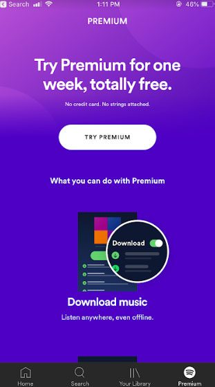 Spotify mobile app: Premium subscribe page