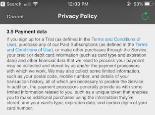 Spotify mobile Privacy Policy: Payment data clause