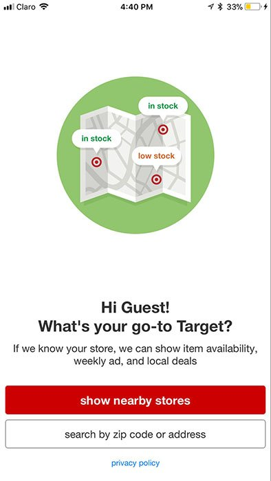 Target mobile app Show Stores screen with Privacy Policy link