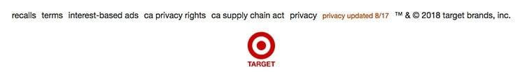 Target website footer showing links