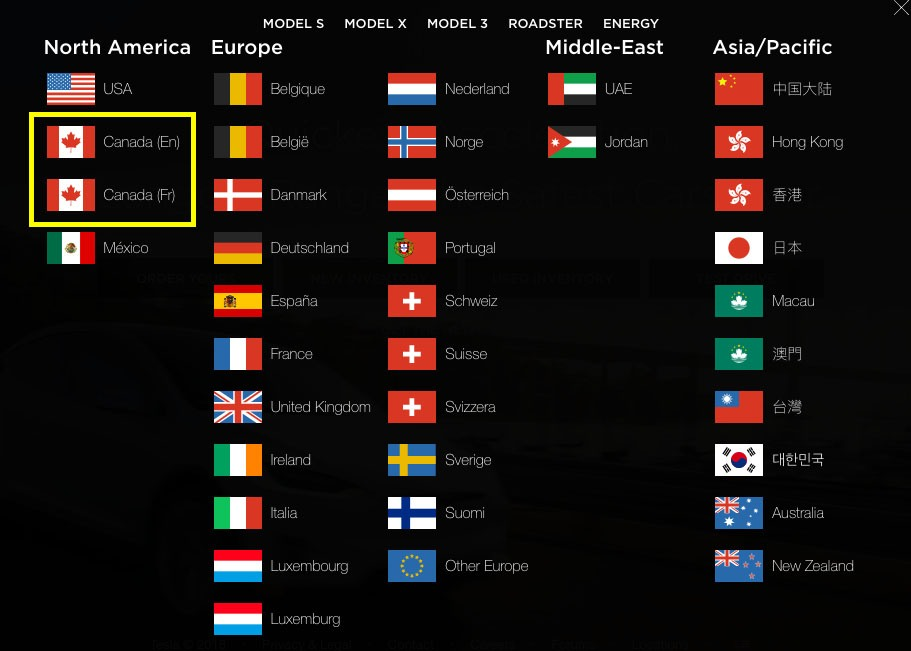 Screenshot of Tesla language selection tool with Canadian language preference option highlighted