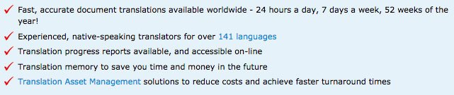 WorldLingo translation service guarantee