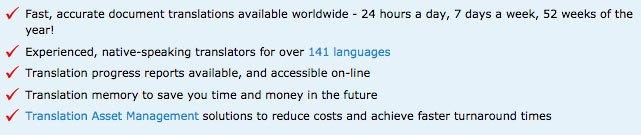 WorldLingo translation service guarantee