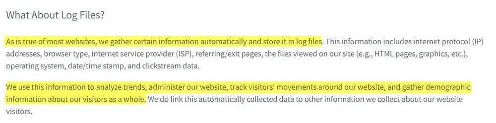 AWeber Privacy Policy: Log Files clause
