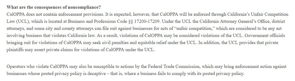 Consumer Federation of California Education Foundation: What are the consequences of noncompliance with CalOPPA