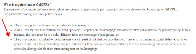 Consumer Federation of California Education Foundation: conspicuous CalOPPA Privacy Policy link