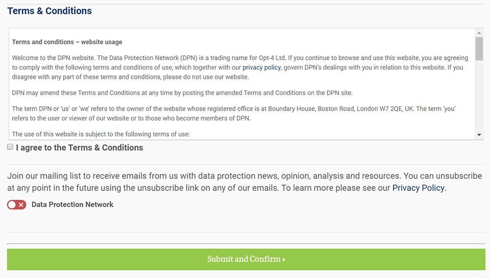The Data Protection Network: Registration form with clickwrap consent for Terms and Conditions and joining mailing list