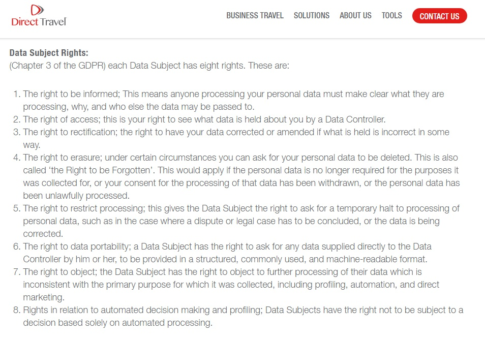 Direct Travel Privacy Policy: Data Subject Rights clause: GDPR