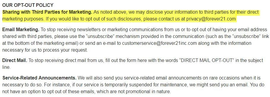 Forever21 Privacy Policy: Our Opt-Out Policy clause
