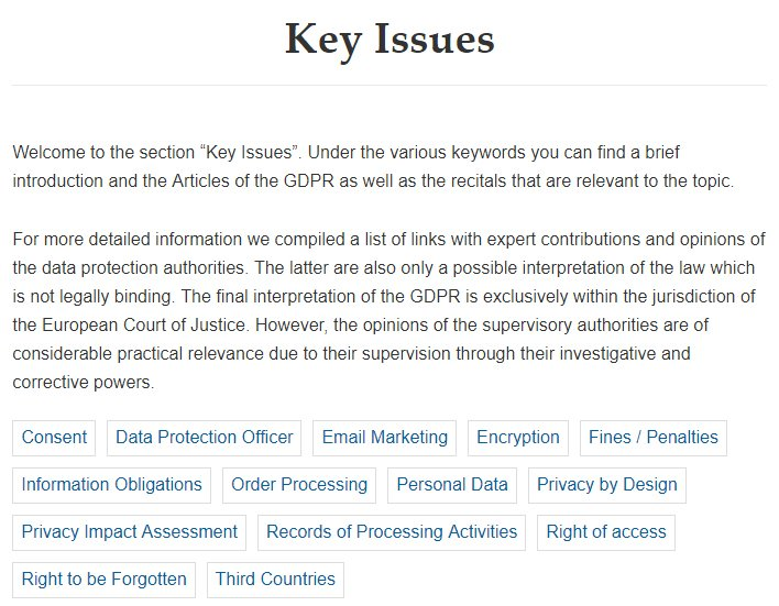 GDPR Info: Key Issues section