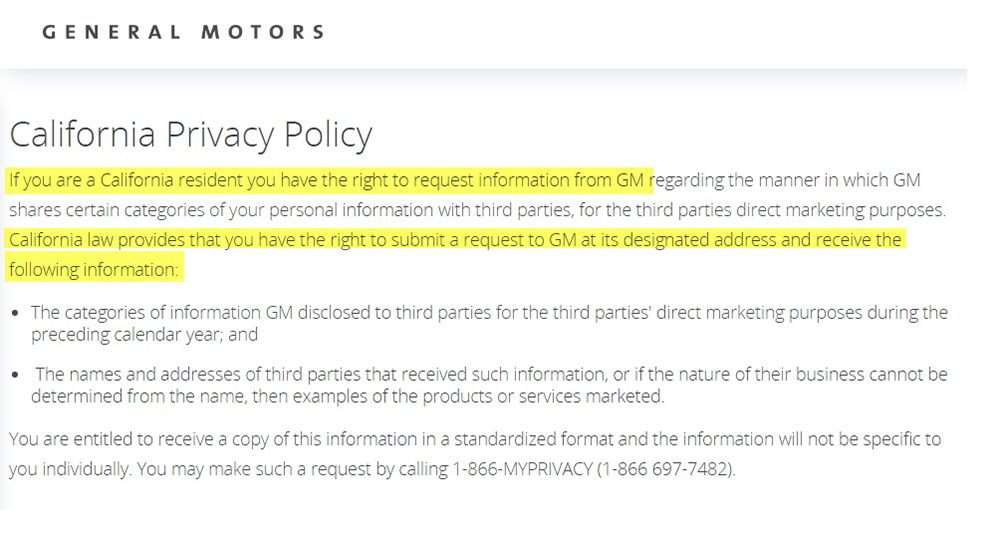 General Motors California Privacy Policy clause